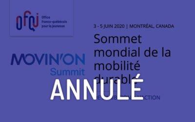 Sommet Mondial de la mobilité durable – Movin'on 2020 – Annulé
